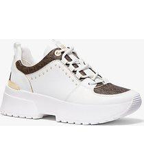 mk sneaker cosmo in pelle con borchie e logo - bianco ottico/marrone (marrone) - michael kors
