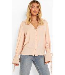 monochrome blouse met mouwstrikjes, nude
