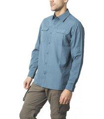 camisa outdoor manga ajustable azul kannú