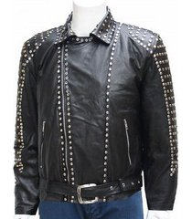new studded black leather jacket unique men made to order all sizes hot sale