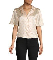 silk polka dot crop pajama shirt