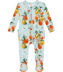 infant girl's posh peanut mirabella ruffle fitted one-piece footie pajamas, size newborn - blue