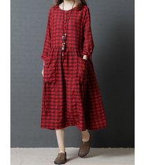 donna casual abito sciolto a scacchi con grandi tasche