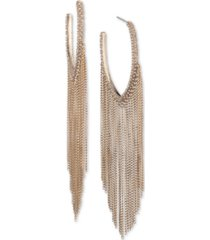 """givenchy extra large gold-tone crystal chain fringe hoop earrings 4.3"""""""