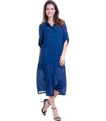 vestido 101 resort wear chemise midi evase viscose liso azul mar
