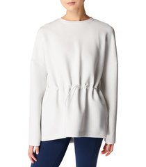 sweaty betty grace toggle crewneck sweatshirt, size x-large in lily white at nordstrom