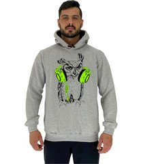 blusa moletom masculino alto conceito coruja com headset mescla - cinza - masculino - dafiti