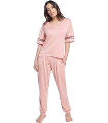 pijama feminino com bolso ros㪠com animal print - onã§a/ros㪠- feminino - viscose - dafiti