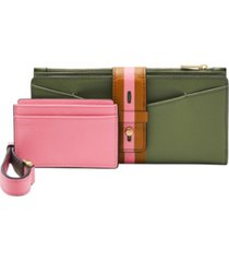 fossil women's willa slim tab leather wallet
