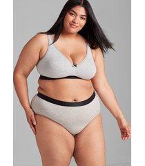 lane bryant women's cotton unlined no-wire bra 40c heather grey