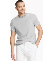 tommy hilfiger men's essential micro stripe t-shirt grey/white - xs