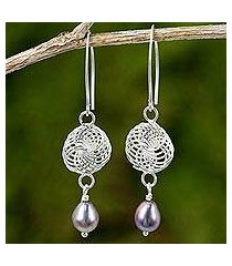 cultured pearl and sterling silver dangle earrings, 'snowfall in grey' (thailand)