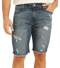 guess men's slim-fit ripped denim shorts