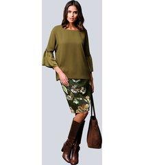 kjol alba moda grön::konjak
