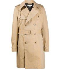 alexander mcqueen wraparound trench coat - neutrals