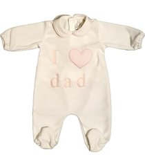 "jumpsuit in chenille with ""i love dad"" print"