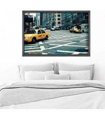 quadro love decor com moldura new york city grafitti metalizado  médio - tricae