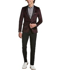 paisley & gray slim fit formal sport coat merlot plaid