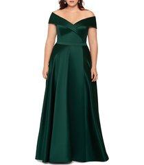 plus size women's xscape off the shoulder satin a-line gown, size 22w - green