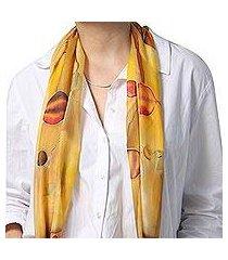 hand painted silk batik scarf, 'precious pomegranate in honey' (armenia)