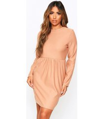 crew neck sweat smock dress, camel