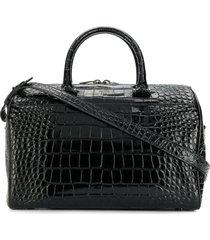 saint laurent crocodile embossed duffle bag - black