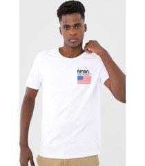 camiseta fiveblu manga curta nasa branca - branco - masculino - algodã£o - dafiti