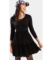 bernice babydoll tiered mini dress - black