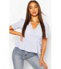 geweven wikkel blouse met stippen en strik, lichtblauw