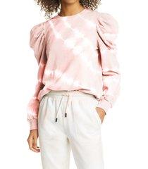 women's nicole miller tie dye puff sleeve sweatshirt, size small - pink
