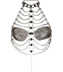 annamode sutiã bicolor com aplicação de cristais - prateado