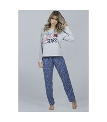 pijama feminino serra e mar modas longo la vie cinza