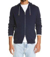 men's brunello cucinelli cashmere zip front hoodie, size 38 us - blue