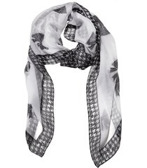 victoria houndstooth bow silk chiffon scarf - one white