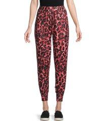 terez women's cheetah-print jogger pants - red - size xs