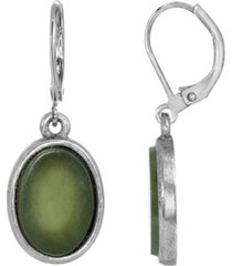 2028 silver-tone semi precious jade oval flat drop earrings