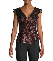 lurex jacquard ruffle trim top