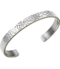 sutton stainless steel hammered bangle bracelet with gold-tone trim