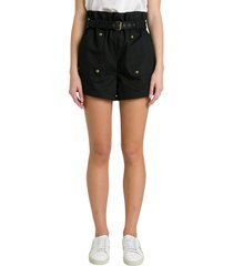 saint laurent belted shorts with studded pockets