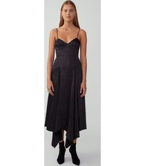 black cupped godet dress