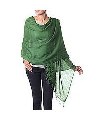 wool shawl, 'lime green muse' (india)
