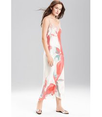 hibiscus gown, women's, 100% silk, size l, josie natori
