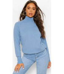 colour block en luipaardprint top met turtle neck, blue