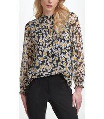karl lagerfeld long sleeve ruffle neck blouse