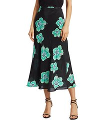 kelly floral silk midi skirt