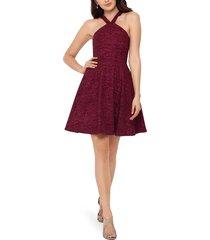 women's xscape glitter halter neck cocktail dress, size 4 - burgundy