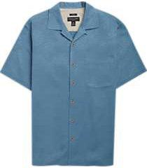 pronto uomo teal camp shirt