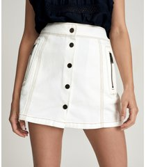 reiss hailey - denim mini skirt in white, womens, size 14