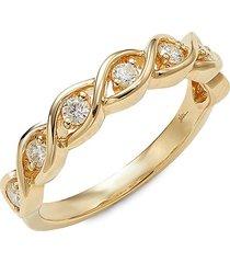 saks fifth avenue women's twisted 14k yellow gold & 0.33 tcw diamond ring - size 7