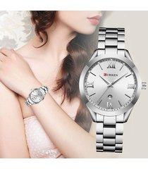 curren reloj dama elegante acero análogo fechador plateado